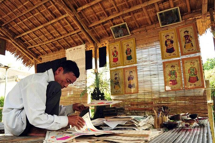 Pueblo artesanal de estampados populares se Sinh cerca de Hue