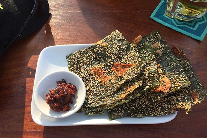Algas fritas plato atipico de Laos