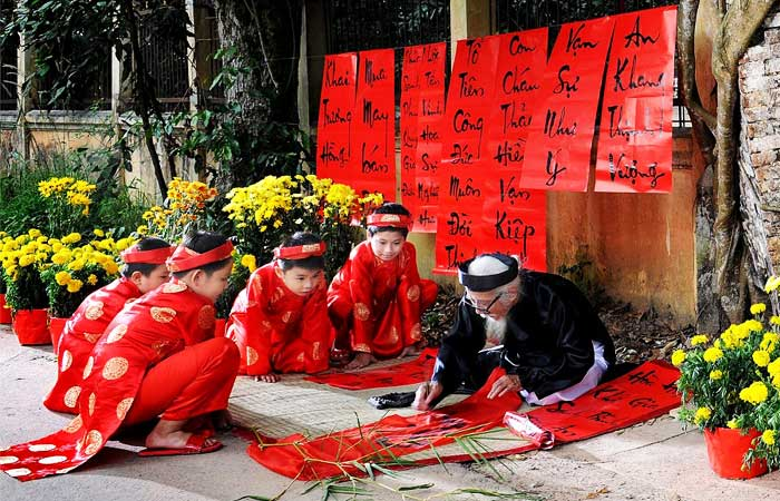 Ano nuevo vietnamita caligrafias Tet