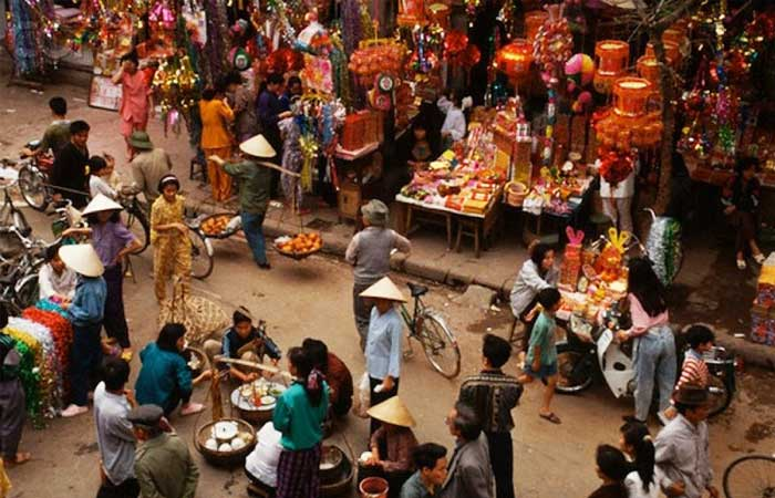 Ano nuevo vietnamita mercado Tet