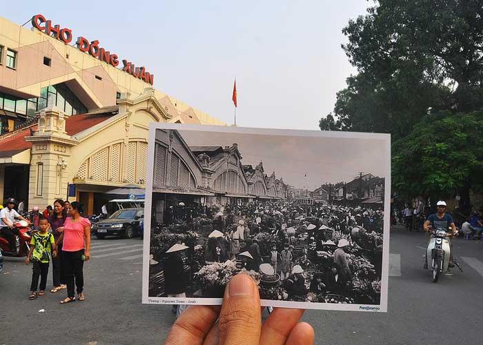El mercado de dong xuan en el barrio antiguo de hanoi