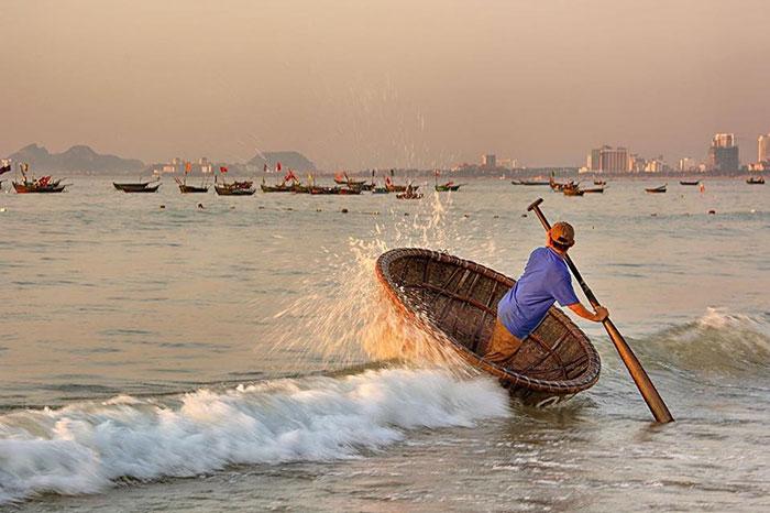 Bote de bambu en la cultura vietnamita