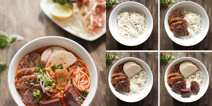 Preparacion del plato Bun Bo Hue en Vietnam