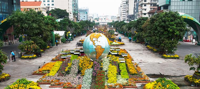 Serenos parques y jardines de Saigon