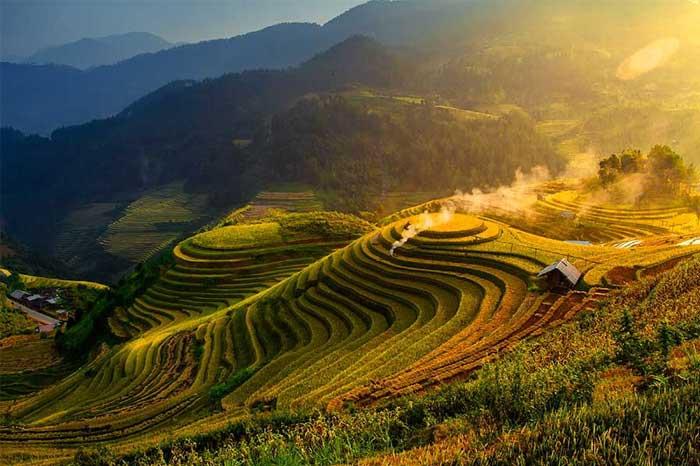 Arrozales en terrasa en Mu Cang Chai Vietnam
