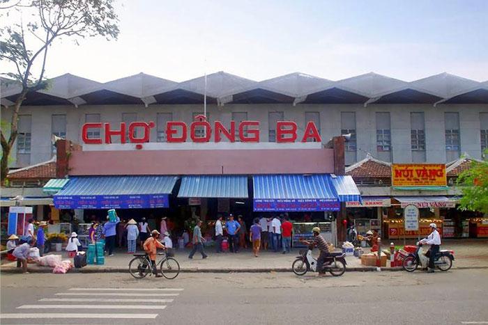 Entrada al mercado de Dong Ba en Hue