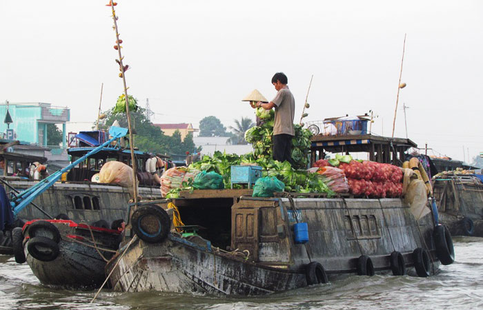 Mercado flotante en el delta del rio Mekong Vietnam