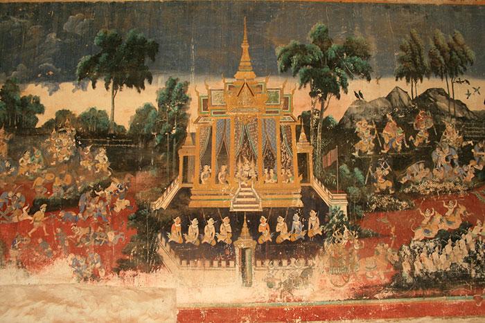 Frescos en el Palacio Real de Nom Pen