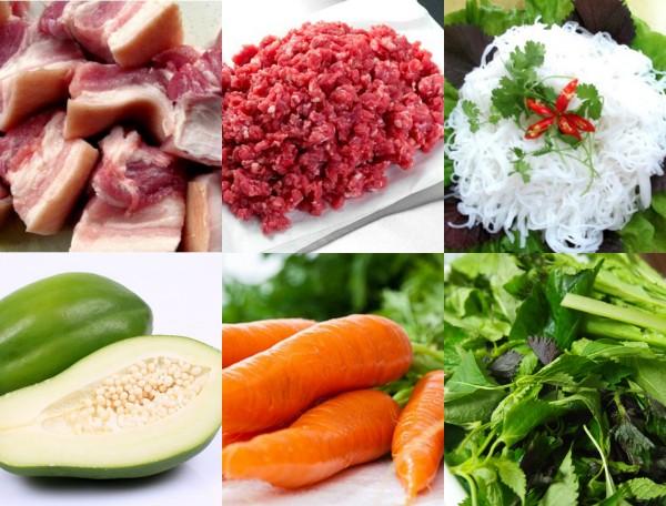 Ingredientes del bun cha hanoi, fideos arroz y cerdo asado