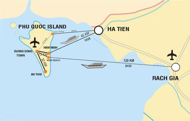 Mapa para llegar a Phu Quoc en barco