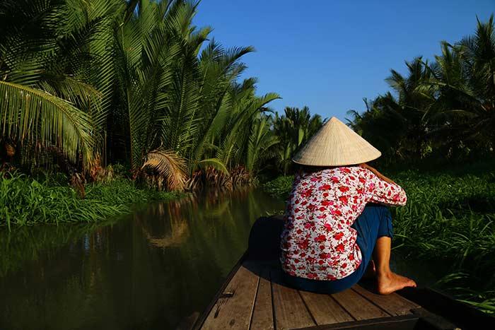 Paseo en bote en Ben Tre Vietnam Delta del Mekong