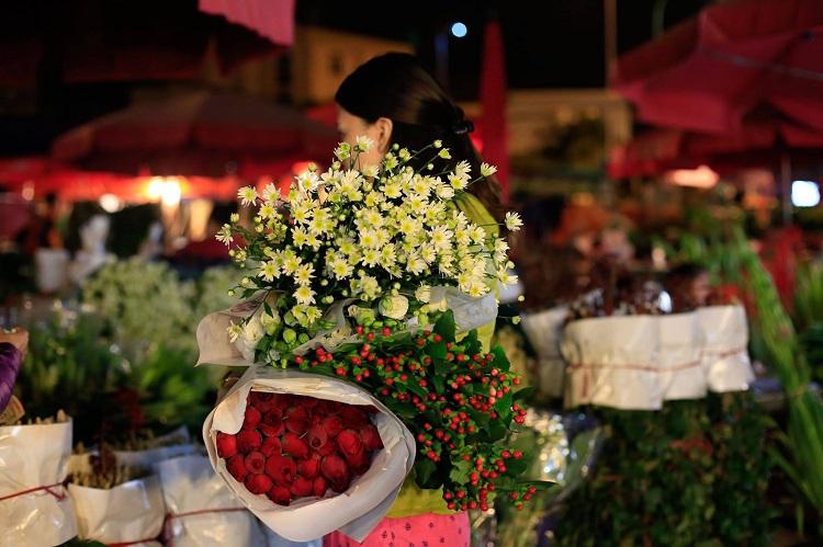 Mercado de flores Tay Tuu en Hanoi
