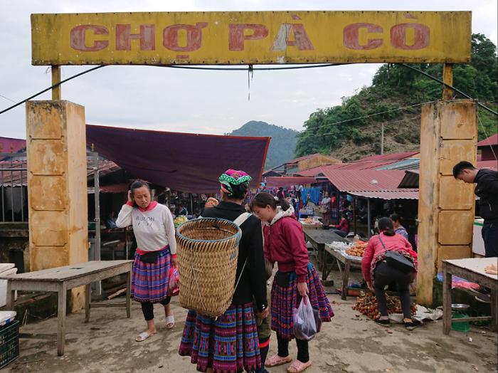 Entrada al mercado Pa Co en Mai Chau Vietnam