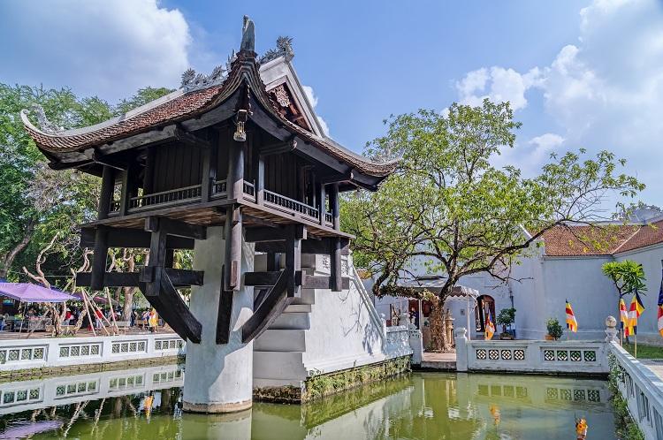 Pagoda del pilar unico en forma de loto en Hanoi