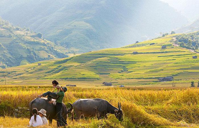Paisaje en el campo de Ha Giang Vietnam