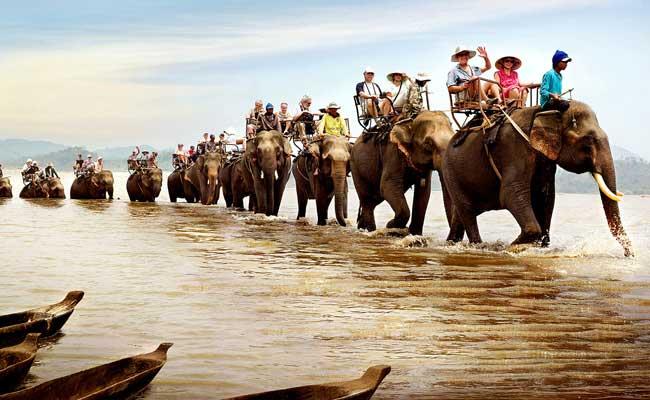 Paseo en elefante el el lago Lak