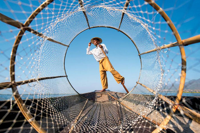 Pescador en el lago Inle Myanmar