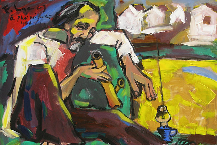 Pintura Bui Xuan Phaim en el museo de bellas artes de Hanoi