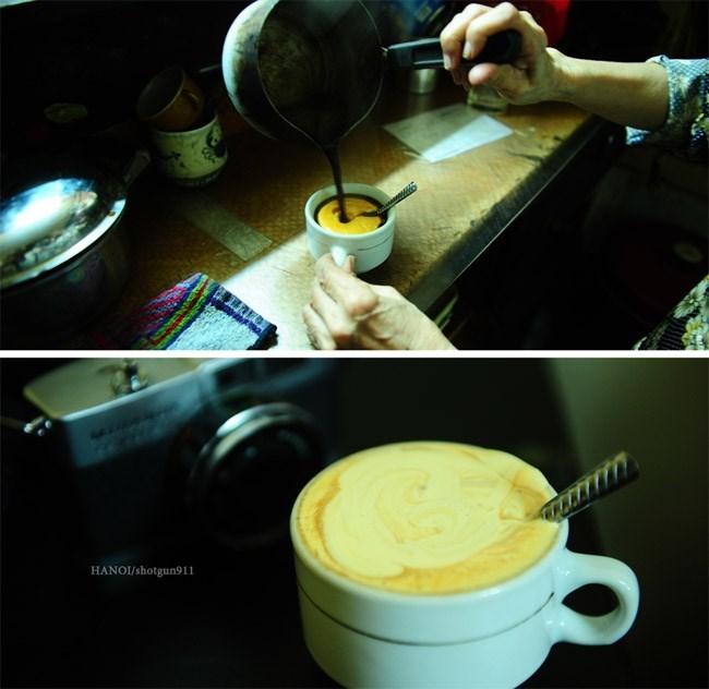 Preparacion del cafe con huevo en Hanoi Vietnam