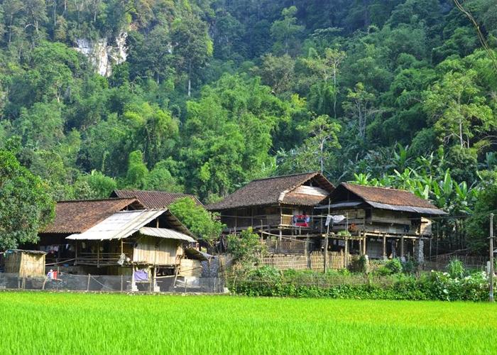 Campo del pueblo Pac Ngoi en el lago Ba Be