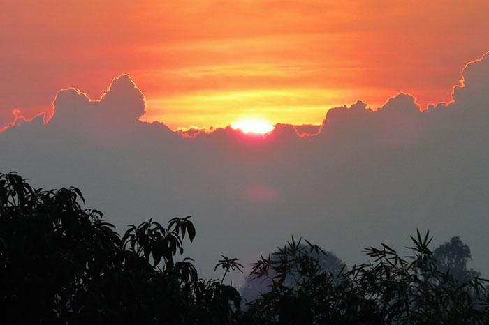 Puesta del sol en Mandalay Myanmar