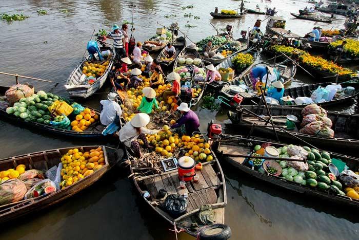 Mercado flotante de Cai Rang Mekong Vietnam