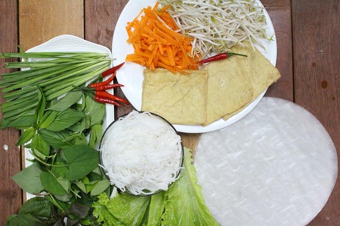 Ingredientes vegetarianos de rollitos primavera vietnam