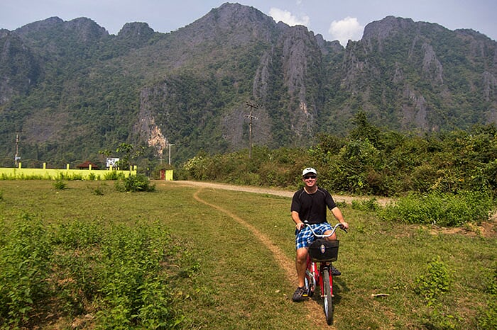 recorrido en bicicleta en vang vieng laos