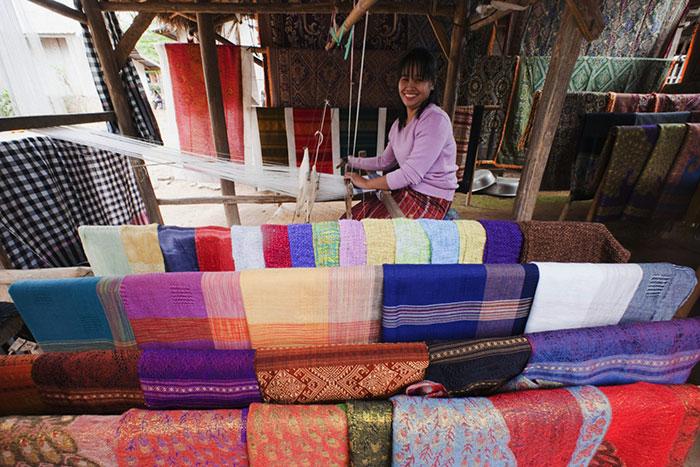 El tejido en Luang Prabang Laos