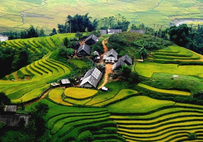 Terrazas de los pueblos Ta Van Lao Chai en Sapa