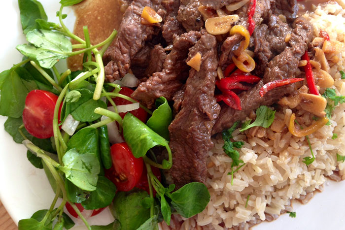 Carne de res Loc La en Camboya