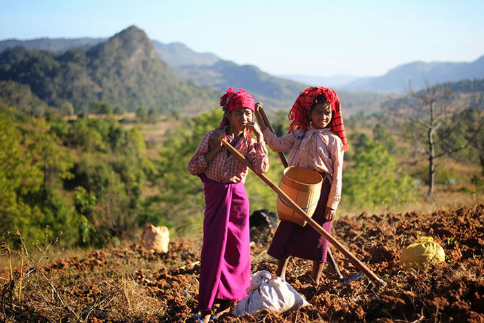 Trekking en birmania poblacion de Kalaw