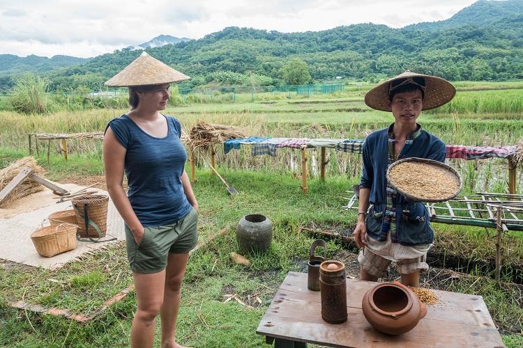 Vacaciones familiares en Laos cultivo del arroz