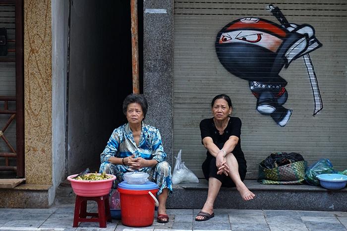 Grafiti en el barrio antiguo de Hanoi