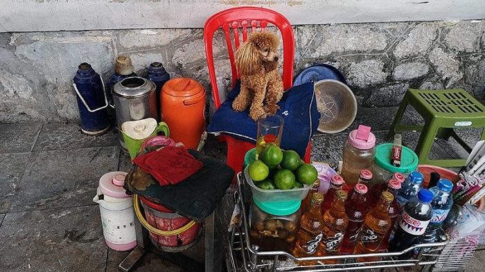 Puesto de bebidas en el barrio anitguo de Hanoi