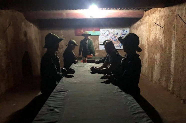 Sala de reunion en tuneles de Cu Chi en Saigon Vietnam
