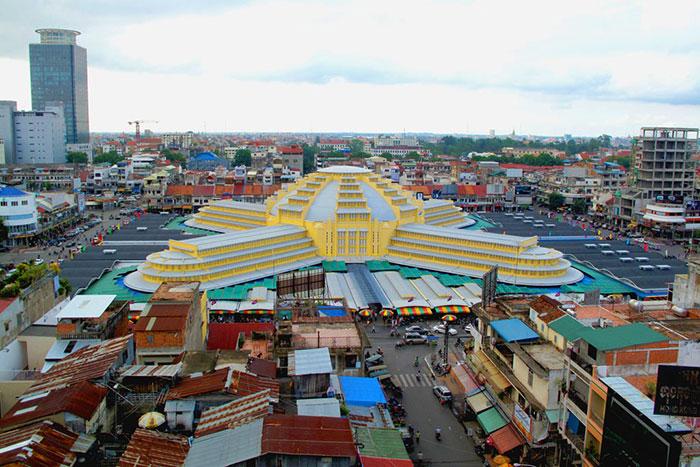 Vista desde lo alto del mercado Phsar Thmey