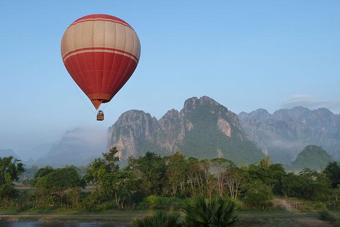 Vuelo en globo aerostatico en Vang Vieng Laos